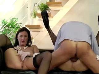 British MILF in threesome with young babe in stockings