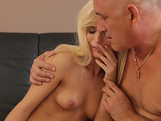Bald padre stretches godly bazaar Candee Licious on couch