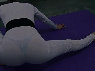 Busty Blonde Teen In White Lycra Bodysuit. Big Ass and Cameltoe