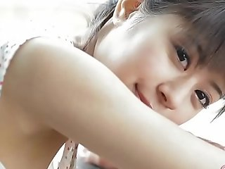 Fetching Japanese teen cameltoe touching together with ribbing outdoors