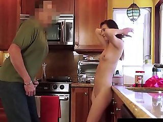 Daughter's porn video  Taboo - Brunette Teenie Stuffed by Her Stepfather - POV