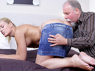Elena can't take for granted how amenable this old man is at having sex. He licked her pussy so amenable she just has to suck his weasel words up ahead she lets him hammer her wet and weak-kneed twat!
