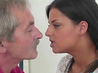 Smutty Teen Rides Grandpas Cock Nicely
