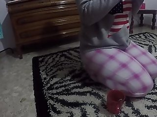 The pupil who takes a breath and masturbates overhead a difficulty living room rug