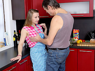 Steamy sex in the kitchen unemployed young babe and grey scrounger