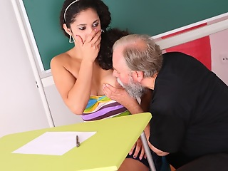 Lara tries to learn the study material in all directions her teacher rod realizes she needs to get extra help today.