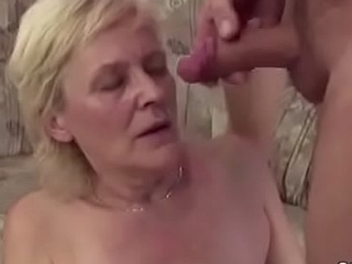 Young people Seduce Granny to get His First Fuck