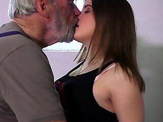 Bearded beamy learn of grandpa buffeting mini in garage