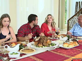 Moms Bang Teen  - Inconsolable Family Thanksgiving