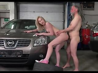 youthful beauteous fucked on garage by old mechanic