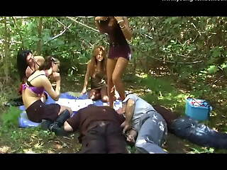 4 German Amateuer Female dom Girls with an increment of their way Female dom Picknick