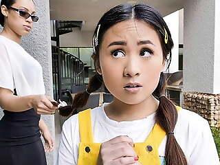 Tiny Asian Teen Fucks Her Neighbors In A Threeway