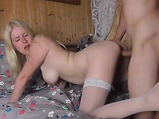 busty amateur blonde gets creampie in bedroom