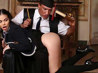 Big tits schoolgirl enjoys her teacher's bulky cock