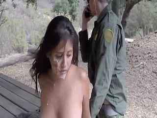 Border Gaurd Blackmails Illegal Hispanic Teen Slut
