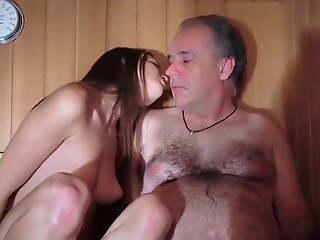 Teen Girl with Confessor in Sauna
