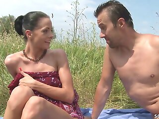 Slim Nudism Teen Seduce to Beach Ass Copulation by Stranger Voyeur