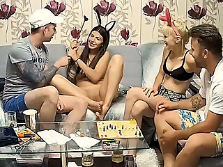Stepsisters Foursome Teenager Orgy after Fun Panel Game