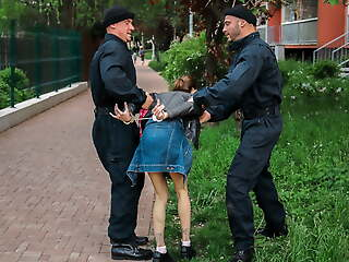 LAW4k. Silly unshaded gets in jail and pays back pussy for her