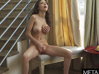 Broad in the beam tits jiggling wildly as she fingers the brush sexy pussy