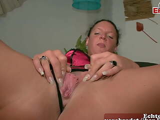 Regular German housewife masturbates handy casting, POV