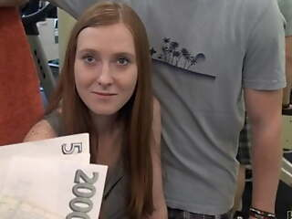 HUNT4K. Long-haired ginger with cute face sells tiny pussy