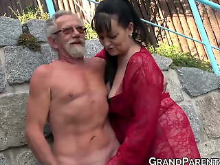 Busty grandma blows big superannuated cock and gets cum sprayed in foursome