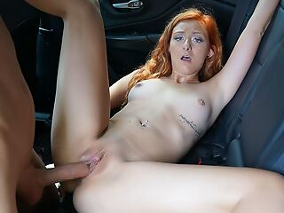 Teen Redhead Fucked To Advance creep In Car By Uber Driver, POV