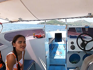 Rented a boat for a day and had sex aloft it with Asian teen GF