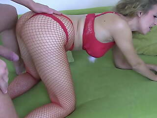 Hot German girl gets rough fuck and facial for Christmas!!
