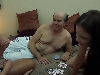 Ugly Grandpa vs Beautiful Young Girls in hardcore trinity fuck with the addition of suck