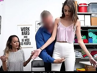 Hot Mom and Step Daughter Acquire Strip Searched and Fucked By Mall Officer