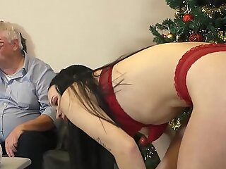 Young slut gets down and sucks cum from old cadger in her juicy tight pussy