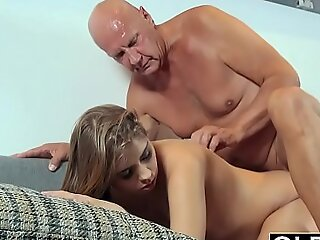 Pretty Young Girl Bite Of Cum And Anal Sex Close in the air Aged man Cock