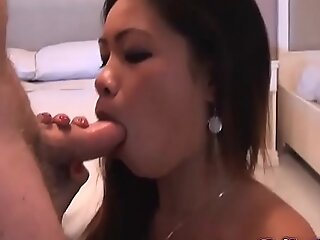 Titillating Filipina spinner blows white European's penis in slay rub elbows with balance it explodes with jizz