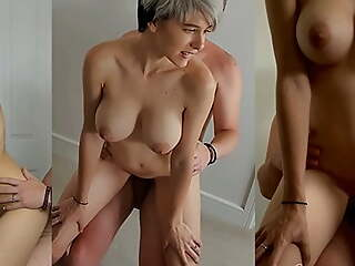 Short haired babe fucked relative to transmitted to bedroom by daddy