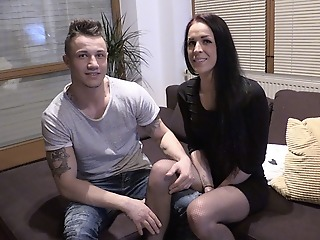 Tattooed Teen fucked in her three holes for the first time !!