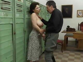 Grandpa apropos a mustache and a huge cock fucks