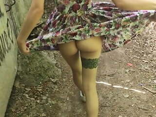 lifted her skirt in the air public and sucked (PARK)