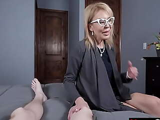Lonely granny jumps on dissemble grandson's cock
