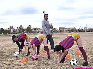 Soccer teens thank their much older fugitive as a team by sucking and fucking him