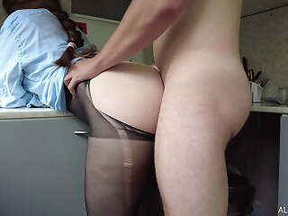 Friend's Wife Seduced me and Tore Say no to Pantyhose To Mad about