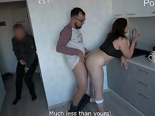 Cuckold unexpectedly came home and licked lover's cum
