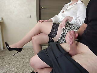 I pull out my cock forward the teacher in stockings
