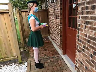 Girl scout selling cookies gets fucked by older man