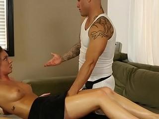 Brunette sucking masseur