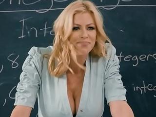 Schoolroom threesome with bosomy teacher and schoolgirl