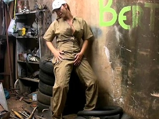 Blonde tranny in the matter of uniform plays with will not hear of long shaved pecker