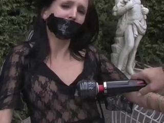 Helping Tied girl to cum