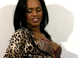 Perfect doll with balls tugs their way black cock in leopard dress
